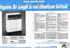 Publicité advertising 1990 (2 pages) Le Climatiseur Délonghi Pinguino