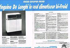 Publicité advertising 1990 (2 pages) Le Climatiseur Délonghi Pinguino