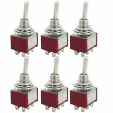 6 Pcs AC 250V 2A 120V 5A ON/OFF/ON Latching DPDT 6 Pins Toggle Switch
