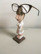 Peepers Nurse Eye Glass Holder Stand Carved Wood Woman Rx Chart Painted