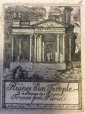 Paris Ruines d'un temple à l'usage des Payens trouvé près Paris  Le Clerc XVIIe