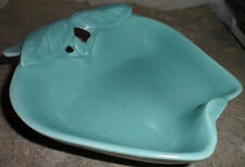 Vintage  Hoenig Ice Cream Dish Aqua Blue Apple Candy Bowl California Pottery USA