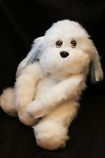 "Haan Crafts 10"" White Plush Toy Doll Puppy Dog (Blue Ears) Made by Tiffany"
