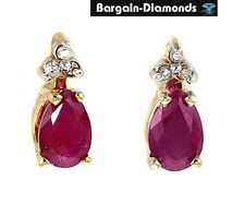 Ruby Diamond 10K gold stud earrings red pear birthstone birthday anniversary