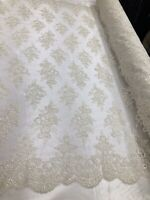 Floral Shiny Sequins - Ivory - Embroidered Lace Fabric Sold By Yard