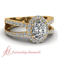 1.35 Carat Engagement Rings For Women Oval Diamond Halo Split Band GIA Certified