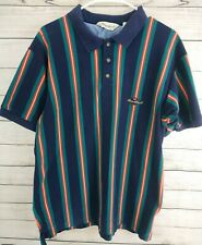 Vintage 1990s Eddie Bauer Vertical Striped Polo Shirt Short Sleeves XL