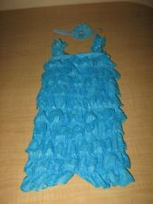 Turquoise Petti Lace Romper & Headband Baby Toddler Cake Smash Outfit 9-12 Mo.