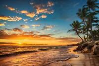 Sunrise on a Tropical Island Paradise Photo Art Print Mural Poster 36x54 inch
