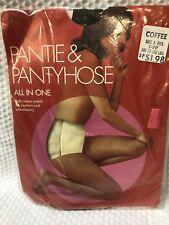 Vintage 1960's pantyhose nylon COFFEE Size A 100-150 lbs WHITE PANTY