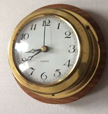 Vintage Brass Tone Kienzle Quartz Ships Clock Marine Nautical
