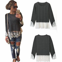 Womens Long Sleeve Crew Neck Lace Pullover Tee Tops Casual T Shirts Loose Blouse