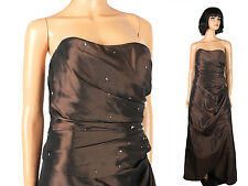 Strapless Prom Dress Sz 8 M Long Dark Brown Taffeta Corset Back Evening Gown