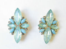 Turquoise Green Blue Silver Faux Opal Earrings Stud Art Deco Vtg 1920s Drop 1127