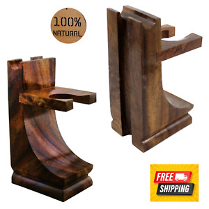 NEW Mission Style Wooden Stand for Safety Razor Straight Razor and Shaving Brush