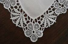 Vintage Set 2 White Linen Doilies Placemats Schiffli Chemical Lace Trim