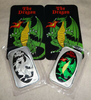 Set Of 2 THE DRAGON Proof Enameled 1oz .999 Silver Art Bars D&D Dungeons CMG