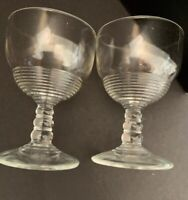 "Set of 2 Midcentury Vintage Clear Glass Cordial Glasses Stemmed Barware 3 1/2""h"