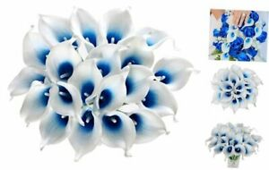 Calla Lily Bridal Wedding Artificial Fake Flowers Party White Blue 20 Pcs