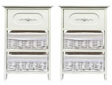 Set of 2 Wide White 3 Chest of Drawer Hallway Bedroom Bedside Table Cabinet