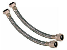 Pair Of Flexible Tap Plumbing Connectors Braided Flexi Hose - 3/4 x 22mm x 300mm