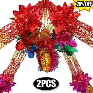 2X Large Multi Colour Christmas Foil Ceiling Garland Hanging Xmas Decorations