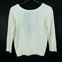 Vince Striped Cashmere Tie Back Sweater M Cream Yellow Crew Neck 3/4 Sleeves