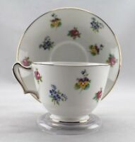 Pretty Vintage Crown Staffordshire England Bone China Teacup Saucer Multi Floral