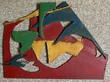 Vintage Abstract Shapes Metal Steel Wall Hanging Sculpture Mid Century Modern