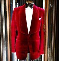Vintage Men Suit Red Velvet Blazer Casual Coats Shawl Lapel Jacket Tuxedo