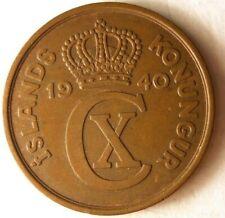 1940 ICELAND 5 AURAR - Excellent Coin - FREE SHIPPING - Iceland Bin A