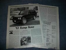 "1983 Range Rover Vintage Road Test Info Article ""...4x4 For The Price of Two"""