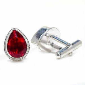 Mozambique Garnet Gemstone 925 Sterling Silver Cufflink Men's S2632