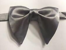 Handmade Grey Satin Bow tie Vintage style 70`s Bowtie Pre-tied Adjustable