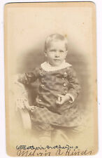 Cute Little Blonde Boy Wearing Plaid Dress & Buttons Crocheted Collar Named CDV