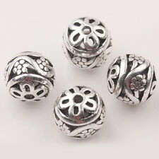 Hot 10/20Pcs Tibetan Silver Flowers Hollow Out Round Shape Loose Spacer Beads
