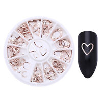 Rose Gold Nail Stud Beads Starfish Shell Geometry 3D Nail Art Decoration Wheel