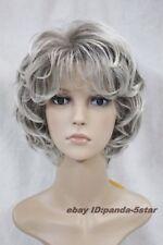 wigs Perruque,gris / brun mixte,courts,bouclés,vieille femme.Halloween Costume