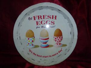 """Repro """"Eat Fresh Eggs For Breakfast"""" ROUND TIN TRAY Retro Kitsch Kitchenailia"""