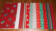 Lot of Twelve Christmas Calico Fat Eighths 100% Cotton New