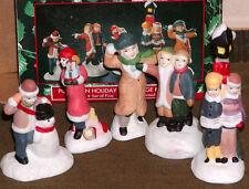 Holiday Boutique, Set of 5 Handpainted  Porcelain Holiday Joy Village Figurines