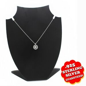 """0.60ct Simulated Twinkle Halo Round Pendant w/ 18"""" Chain 14K White Gold Finish"""