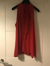 Unbranded Red V Tie Neck Detail Sleeveless Top Sz L