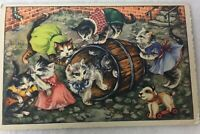 VINTAGE Kittens Cat Toy Dog  Postcard with Greetings Printed in Germany Posted
