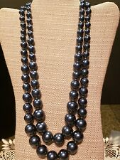 """large dark blue faux pearls double strand 24.5"""" excellent preowned FREE SHIP!"""