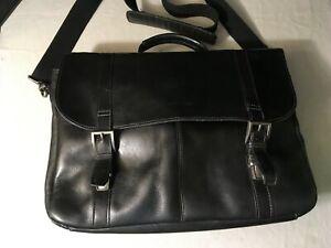 Samsonite Black Leather Laptop Messenger Bag 923670
