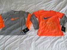 NEW Boys Nike DRI-FIT Orange w/ Gray Slvs+Gray w/ Orange Slvs Size 4 FREE SHIP