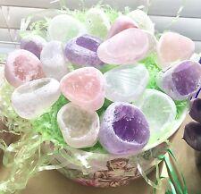 Window Quartz Seer Stone lot of 3 Crystals Amethyst Clear Rose Ema eggs
