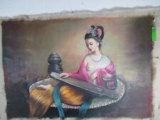 sinnliche Shakti Akt Busen in Seide spielt Musik Buddha Gemälde Tibet ~1975 92cm