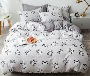 White Panda Cartoon Comfort Bedding Set Duvet Cover Bed Sheet Sets Four-piece